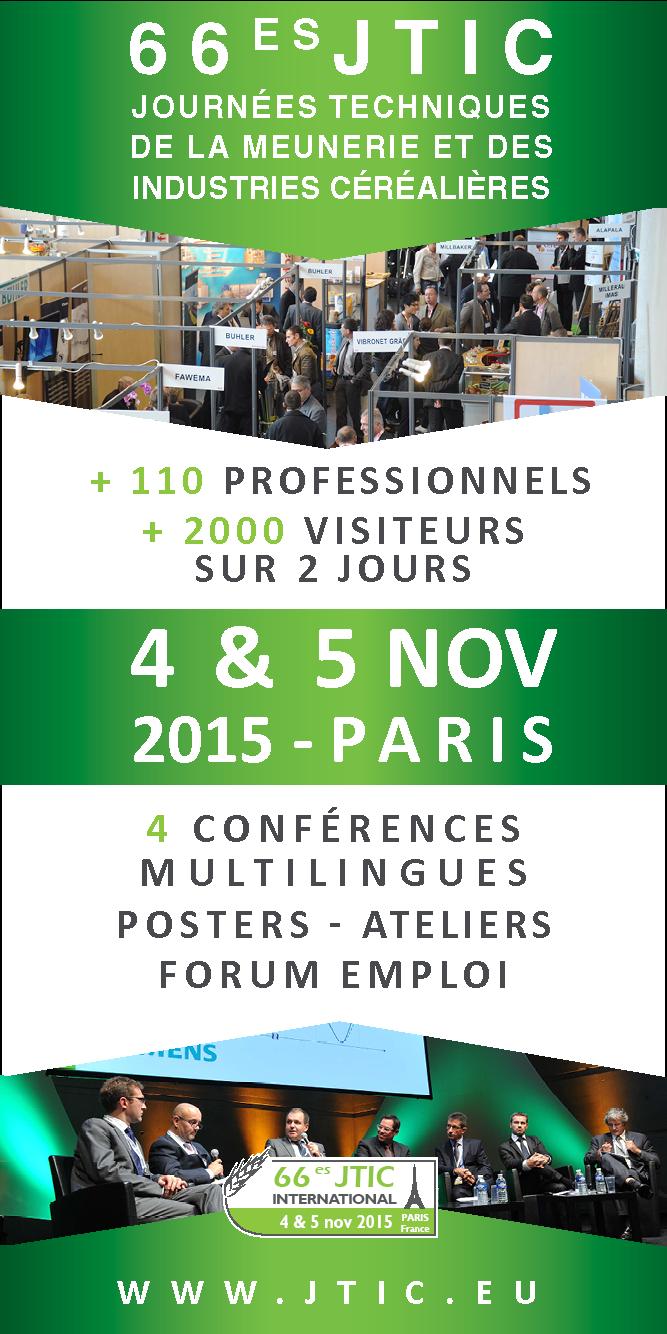 Molitecnica Sud partecipa a « Les JTIC : Journées techniques de la meunerie et de l'industries céréalières » (Parigi, 4/5 novembre 2015)